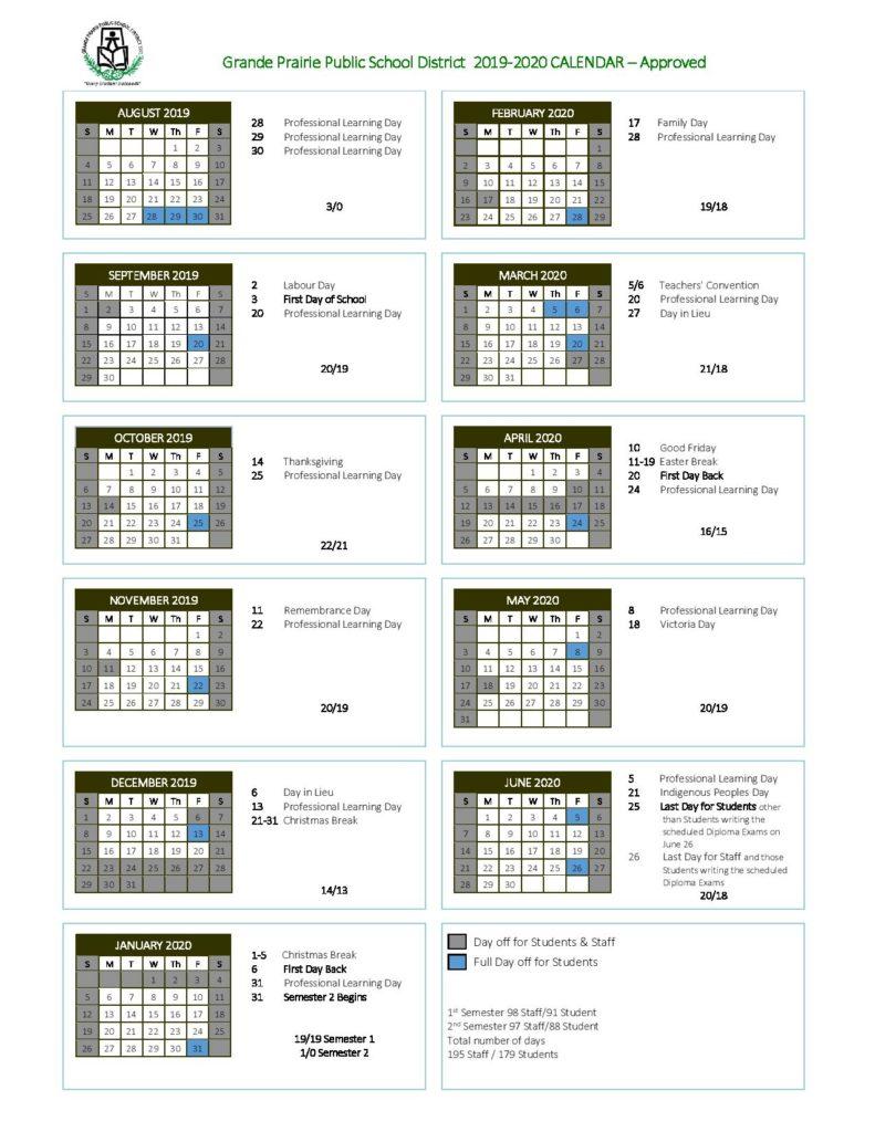 Grande Prairie Public School Calendar