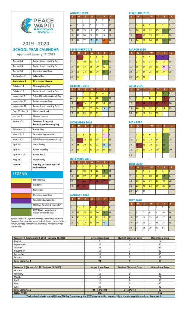PEACE WAPITI School Calendar