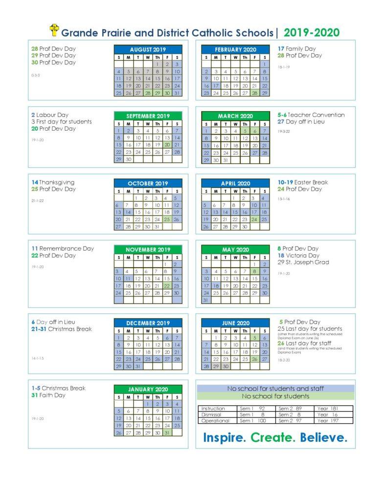 Grande Prairie and District Catholic School Calendar
